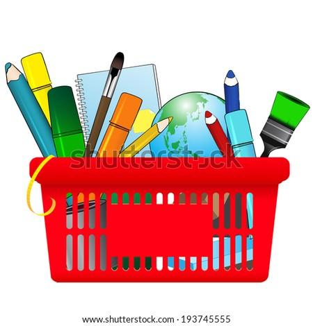 Shopping card with school supplies - stock vector