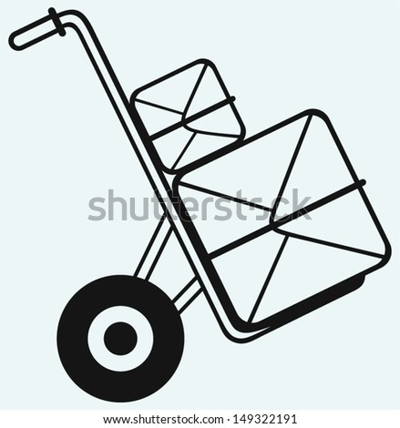Shopping cardboard box on sack truck isolated on blue background