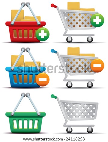 Shopping Cart and Basket Icons - stock vector