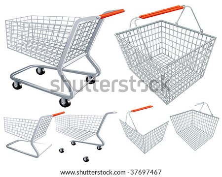 Shopping cart and basket. Vector. - stock vector