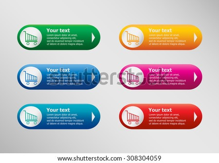 Shopping cart and infographic design template, business concept.  - stock vector