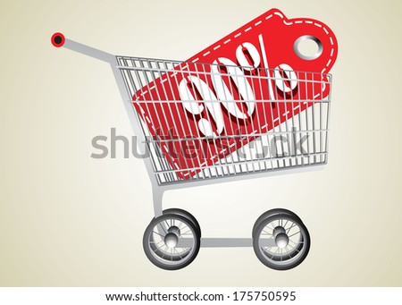 Shopping cart and red ninety percentage discount - stock vector