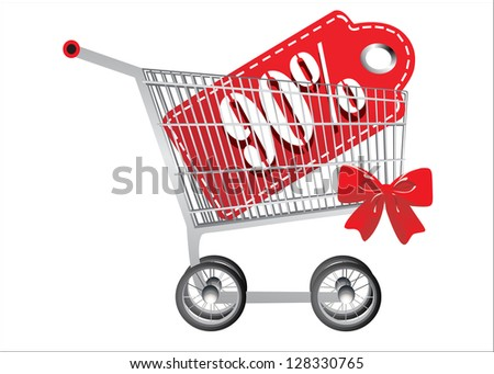 Shopping cart and red ninety percentage discount, isolated on white background. - stock vector