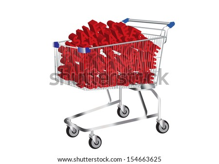 shopping cart and SALE Symbol inside vector images - stock vector