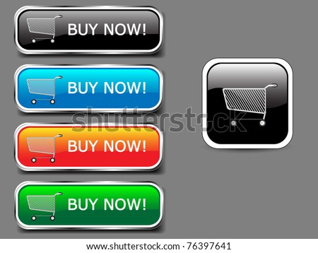 Shopping cart, buy icon button, colorful glossy with shadow.Vector - stock vector