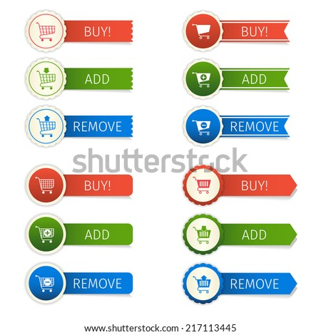 Shopping cart e-commerce web design elements paper sticker set isolated vector illustration