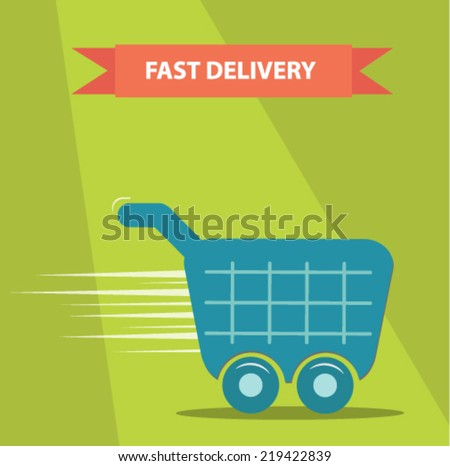 shopping cart - fast delivery concept  - stock vector