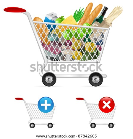 Shopping cart full of different products. Illustration on white background - stock vector
