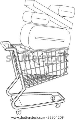 Shopping cart full of percentage - vector. - stock vector