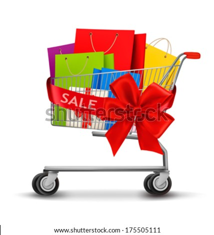 Shopping cart full of shopping bags and a riboon with sale. Concept of discount. Vector. - stock vector