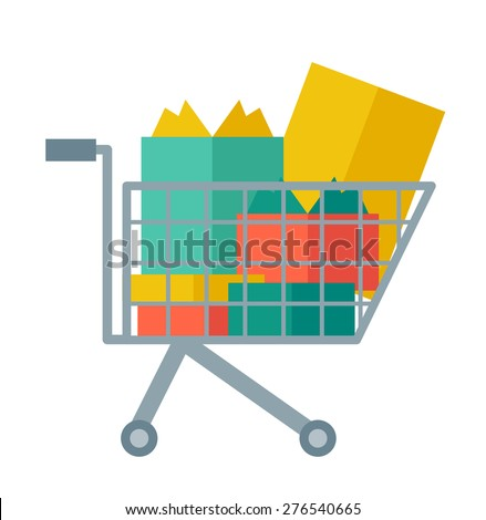 Shopping cart full of shopping bags and gift boxes. A contemporary style. Vector flat design illustration with isolated white background. square layout - stock vector