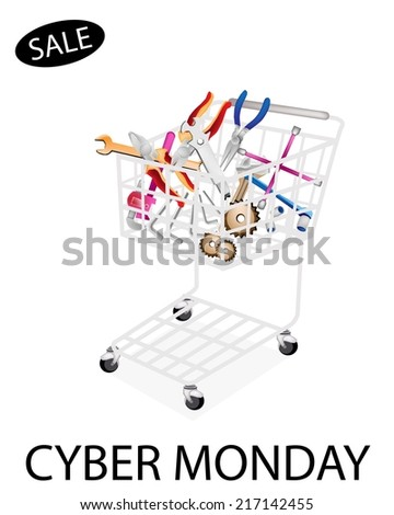 Shopping Cart Full with Various Type of Auto Service and Repair Tool Kits for Cyber Monday Shopping Season and Biggest Discount Promotion in A Year.