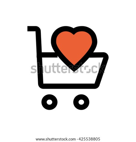 Shopping cart, heart, valentine's day, love line icon. Pixel perfect fully editable vector icon suitable for websites, info graphics and print media. - stock vector