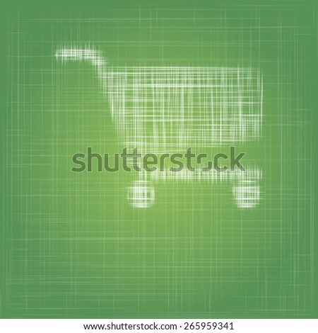 shopping cart icon on eco green cotton fabric vector background