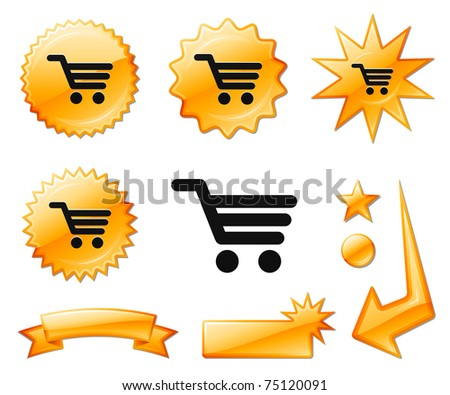 Shopping Cart Icon on Orange Burst Banners and Medals Original Vector Illustration - stock vector