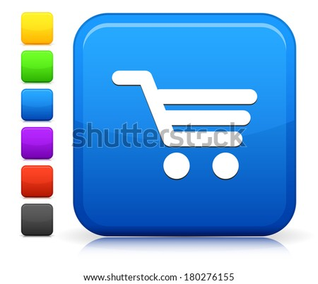 Shopping Cart Icon on Square Internet Button Collection - stock vector