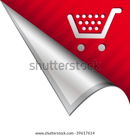 Shopping cart icon on vector peeled corner tab suitable for use in print, on websites, or in advertising materials. - stock vector