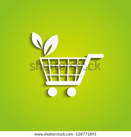 Shopping cart icon - organic concept - stock vector