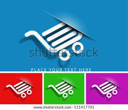 shopping cart icon set design element. - stock vector