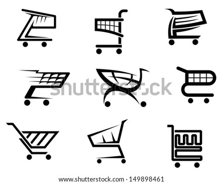 Shopping cart icons isolated on white background for internet shop design or idea of logo. Jpeg version also available in gallery - stock vector