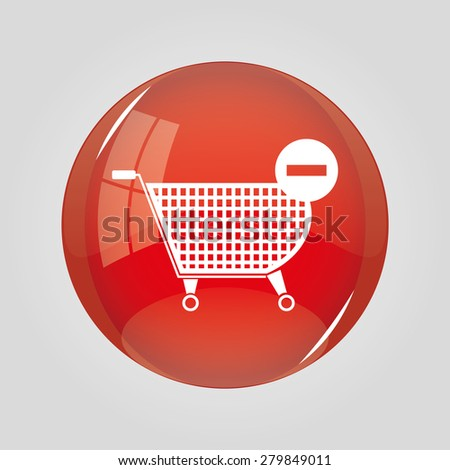 Shopping cart icons. Minus signs. Vector set - stock vector