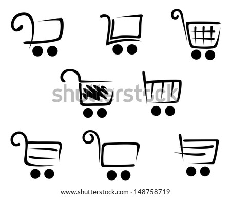 Shopping cart icons set for web site or retail design or idea of logo. Jpeg version also available in gallery - stock vector