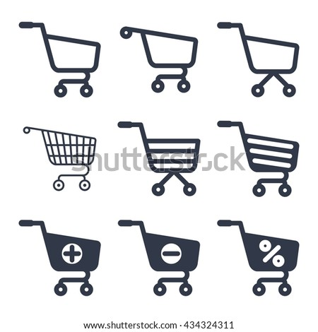 Shopping cart icons vector set. Objects isolated on background. Flat and cartoon vector illustration.