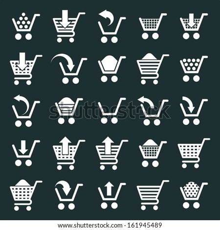 Shopping cart icons vector set, supermarket shopping simplistic symbols vector collections. - stock vector