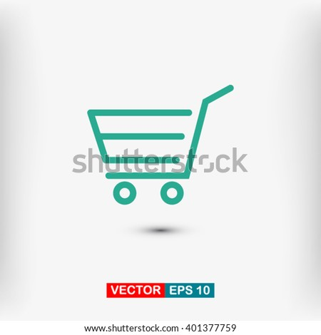 Shopping cart, linear icon. One of a set of linear web icons - stock vector
