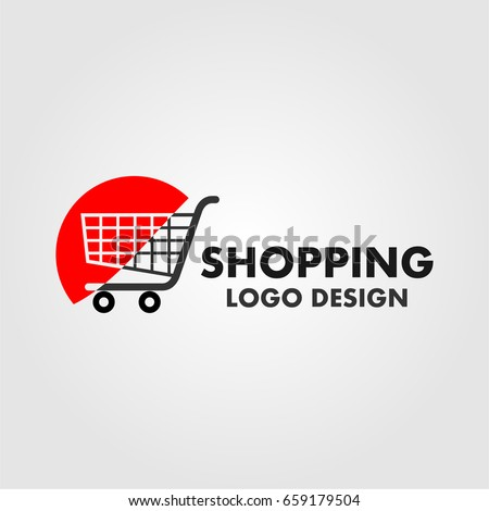 shopping cart logo on red half stock vector 659179504 shutterstock. Black Bedroom Furniture Sets. Home Design Ideas