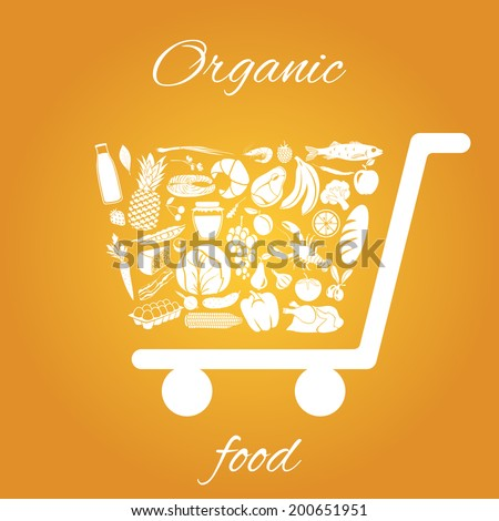 Shopping cart made of fruits vegetables meat and grocery healthy organic food concept vector illustration - stock vector