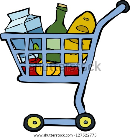 Shopping cart on a white background vector illustration - stock vector