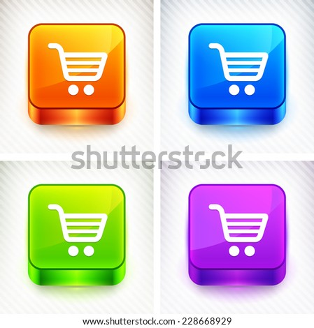 Shopping Cart on Color Square Buttons