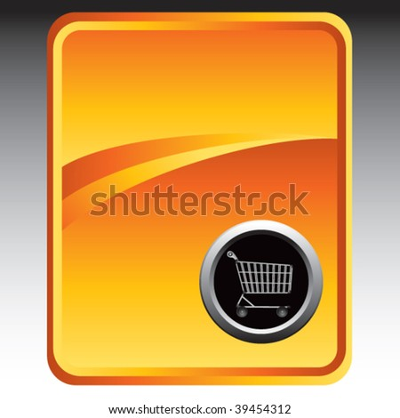 shopping cart on gold background - stock vector