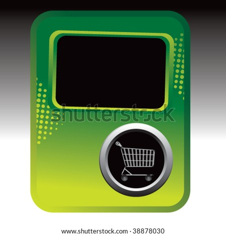 shopping cart on green halftone advertisement - stock vector