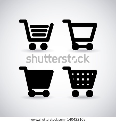 shopping cart over gray background vector illustration - stock vector