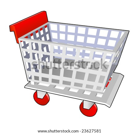 shopping cart red in vector