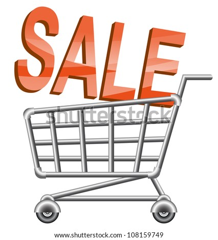 shopping cart; sale; isolated vector illustration - stock vector
