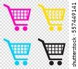 Shopping cart sign. CMYK icons on transparent background. Cyan, magenta, yellow, key, black.