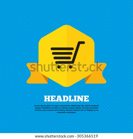 Shopping Cart sign icon. Online buying button. Yellow label tag. Circles seamless pattern on back. Vector - stock vector