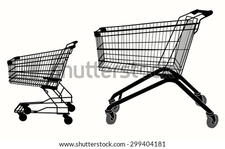 Shopping cart silhouette. Iisolated object over white background.