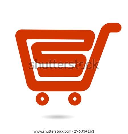 shopping cart symbol vector element design red