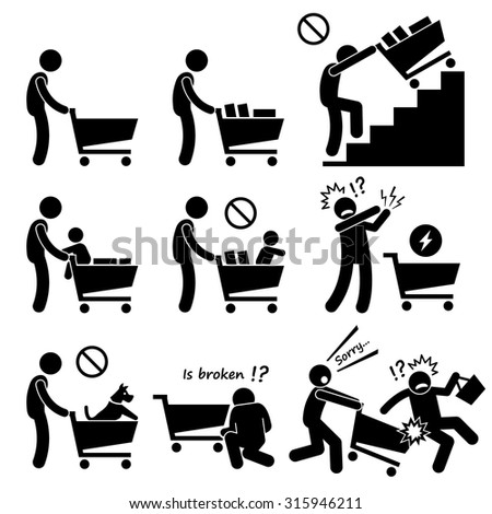 Shopping Cart Trolley Do and Not - stock vector