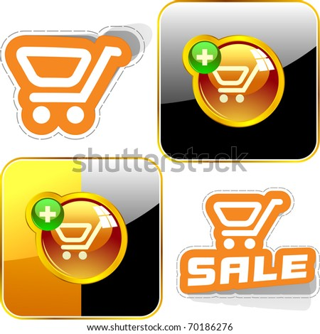 Shopping cart. Vector button for online sale.