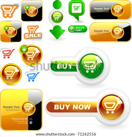 Shopping cart. Vector button for online sale. Great collection. - stock vector