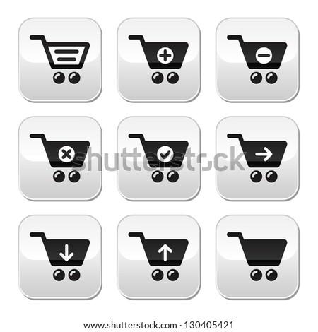 Shopping cart vector buttons set - stock vector