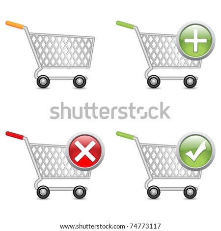 Shopping cart, vector EPS version 8. - stock vector