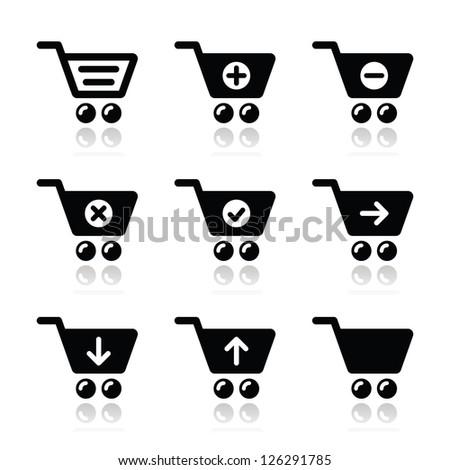 Shopping cart vector icons set - stock vector