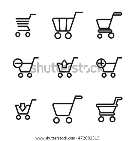 Shopping cart vector icons. Simple illustration set of 9 shopping cart elements, editable icons, can be used in logo, UI and web design