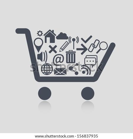 Shopping cart web - stock vector